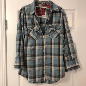 SUPERDRY Blue Grey Plaid Flannel Shirt NWOT Sz Lg